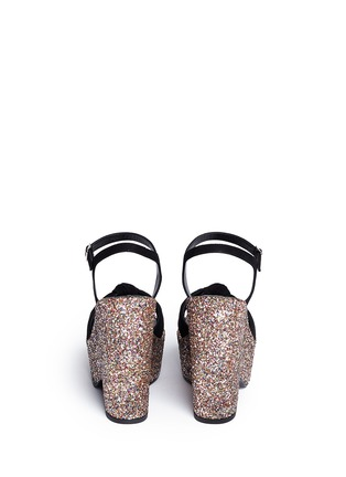Back View - Click To Enlarge - SAINT LAURENT - 'Candy' suede bow glitter wedge sandals