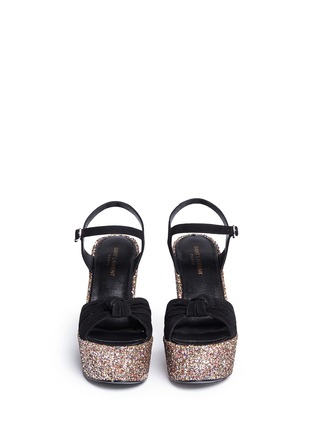 Front View - Click To Enlarge - SAINT LAURENT - 'Candy' suede bow glitter wedge sandals