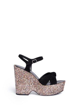 Main View - Click To Enlarge - SAINT LAURENT - 'Candy' suede bow glitter wedge sandals