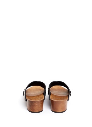 Back View - Click To Enlarge - SAINT LAURENT - Stud leather wooden clog mule sandals