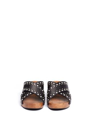 Front View - Click To Enlarge - SAINT LAURENT - Stud leather wooden clog mule sandals