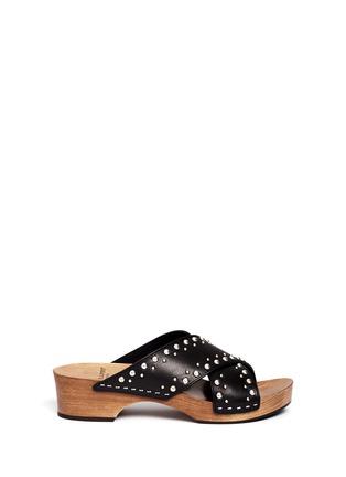 Main View - Click To Enlarge - SAINT LAURENT - Stud leather wooden clog mule sandals