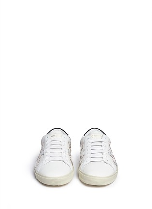 Front View - Click To Enlarge - SAINT LAURENT - 'California' embossed star leather sneakers
