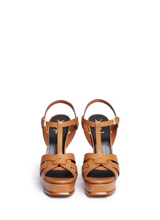 Front View - Click To Enlarge - SAINT LAURENT - 'Tribute' knot front vegetal leather sandals