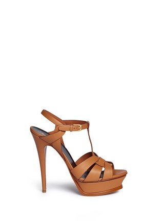 Main View - Click To Enlarge - SAINT LAURENT - 'Tribute' knot front vegetal leather sandals