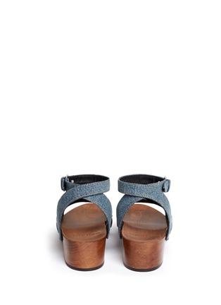 Back View - Click To Enlarge - SAINT LAURENT - Stud denim wooden clog sandals