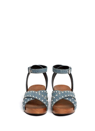 Front View - Click To Enlarge - SAINT LAURENT - Stud denim wooden clog sandals