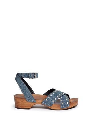 Main View - Click To Enlarge - SAINT LAURENT - Stud denim wooden clog sandals