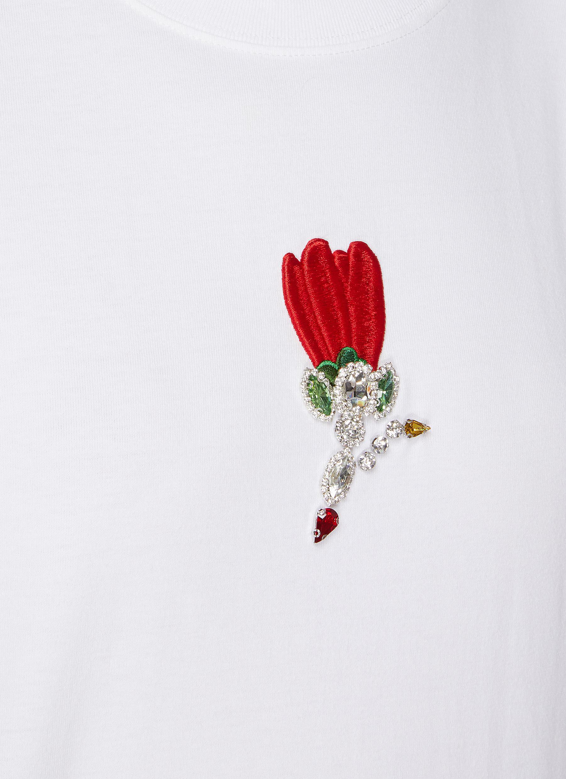 SHUSHU-TONG T-shirts EMBROIDERED FLOWER CREWNECK T-SHIRT