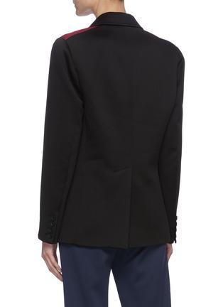 Back View - Click To Enlarge - MIU MIU - 'Lux' Tricolour Shoulder Panel Single-breast Fleece Blazer