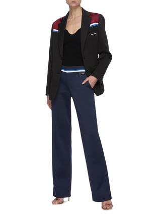 Figure View - Click To Enlarge - MIU MIU - 'Lux' Tricolour Shoulder Panel Single-breast Fleece Blazer