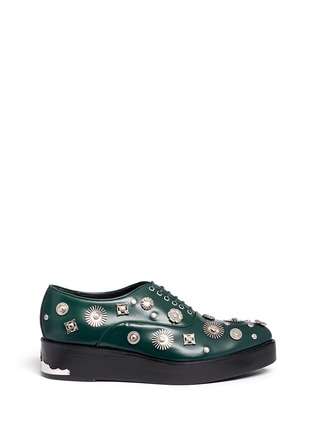 Main View - Click To Enlarge - TOGA SHOES - Stud embellished leather Derbies