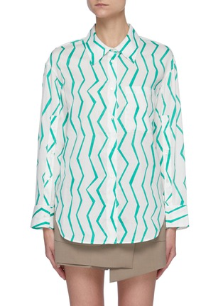 Main View - Click To Enlarge - SHORT SENTENCE - Zig Zag Stripe Cotton Shirt