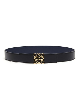 Main View - Click To Enlarge - LOEWE - Anagram Plaque Calfskin Leather Belt