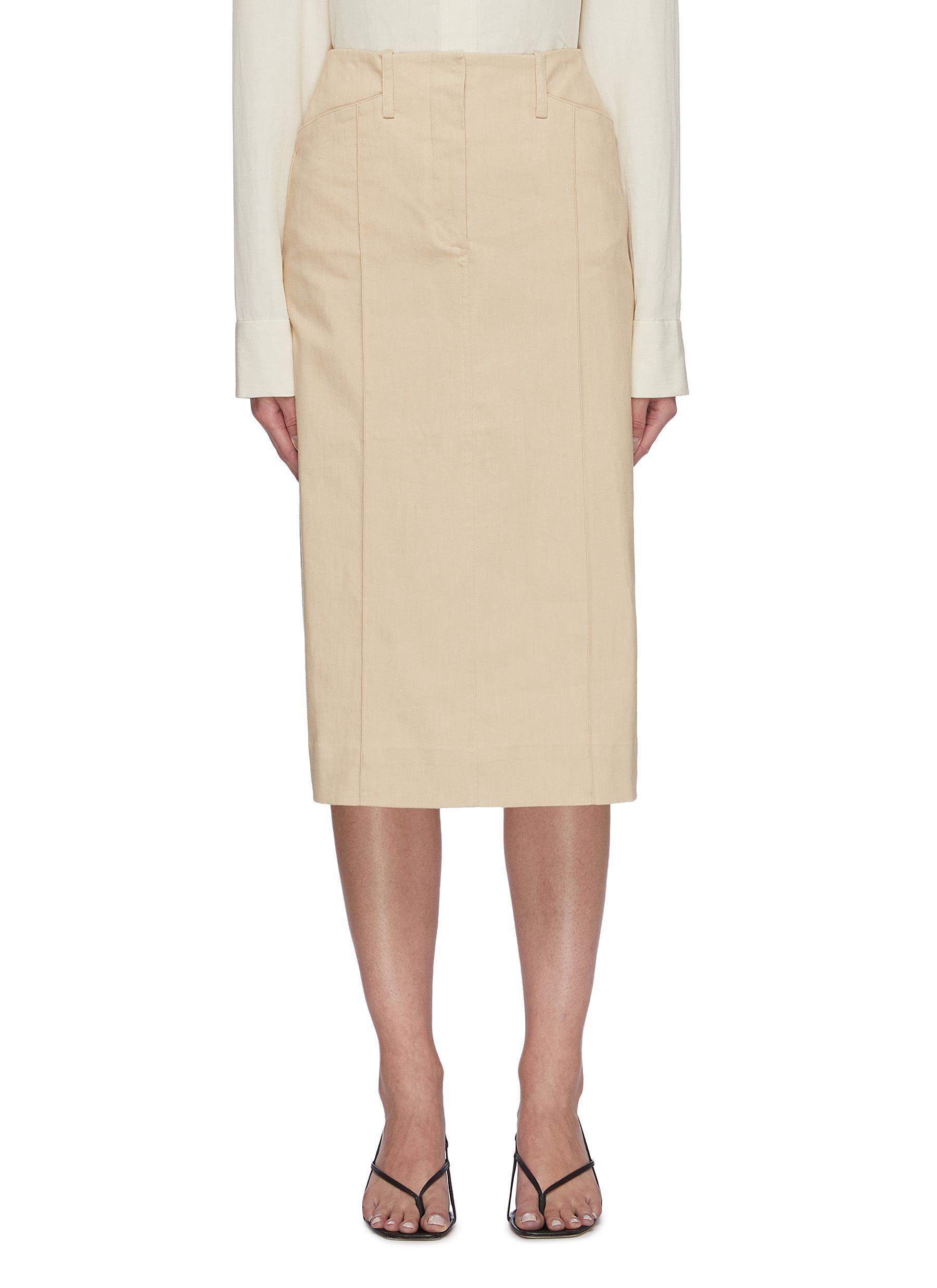 Side pocket panel denim skirt