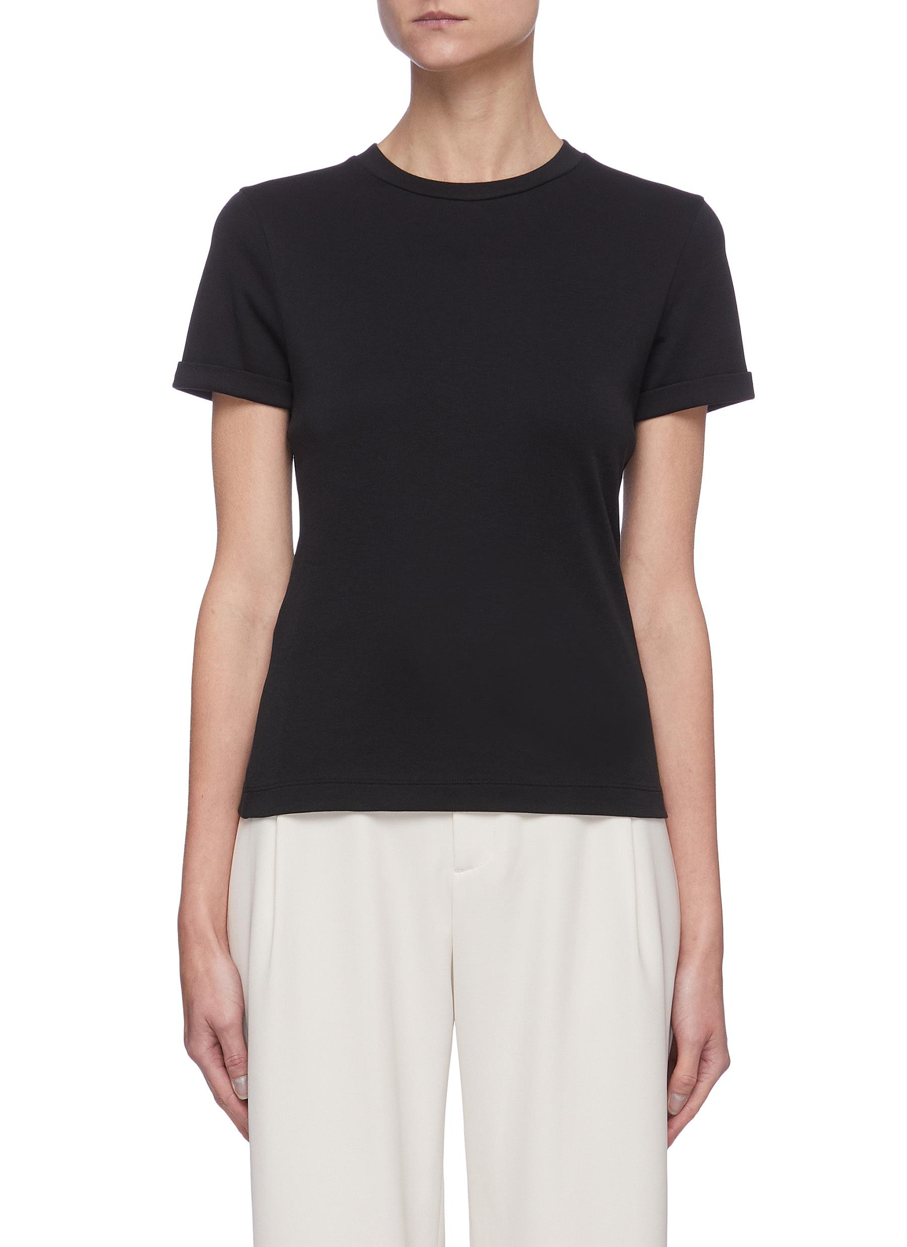 Roll Up Sleeve Back Pleat Pima Cotton T-shirt