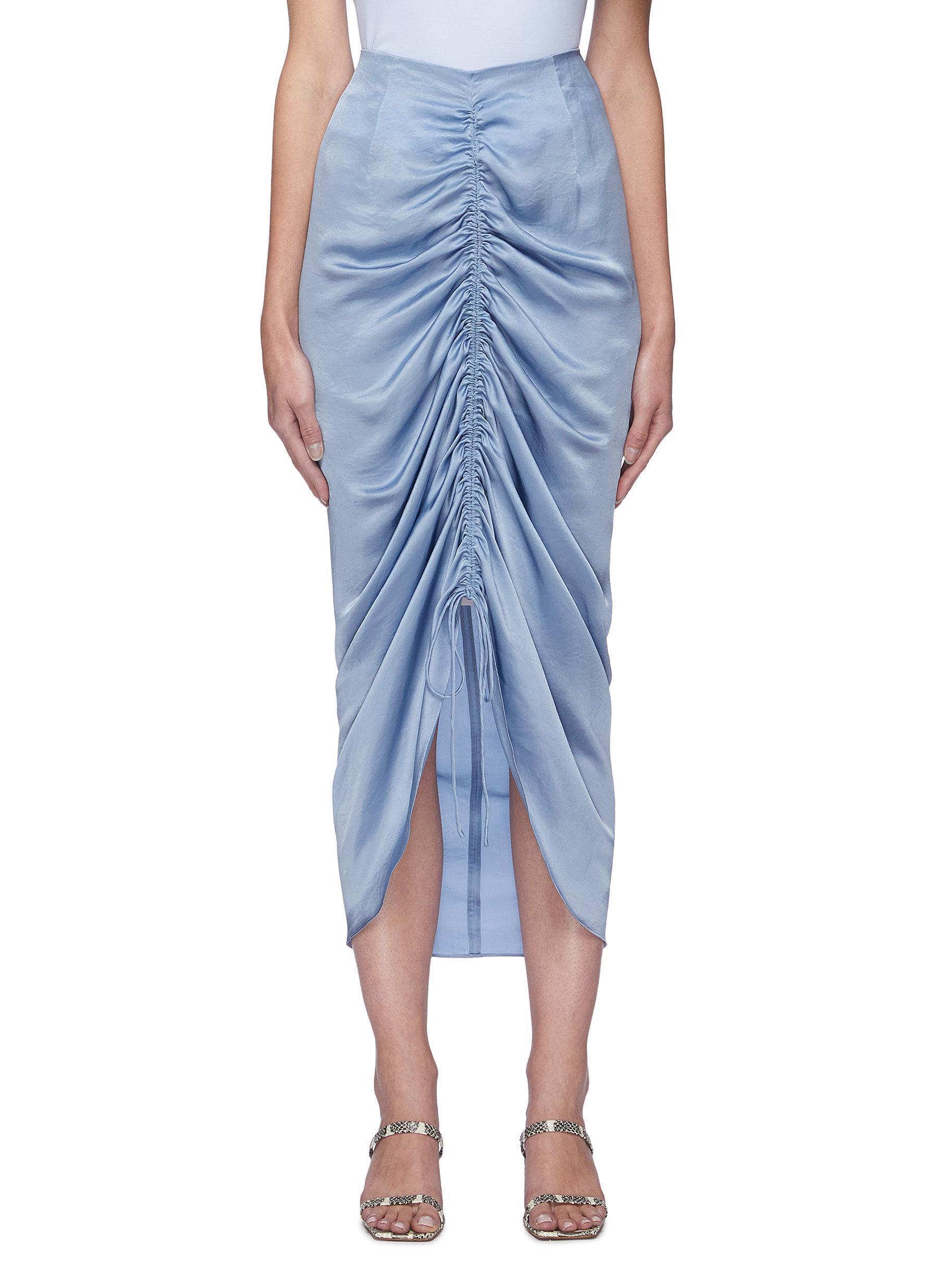 Drawstring Ruch Detail Satin Midi Skirt