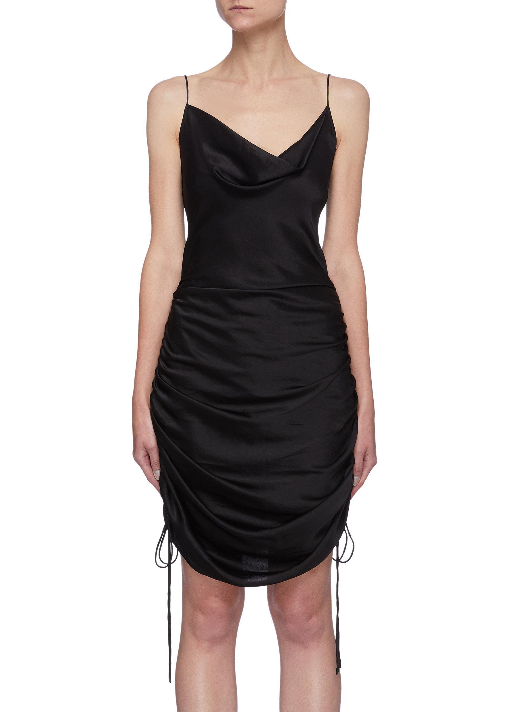 Drawstring Ruch Detail Drape Neck Silk Dress