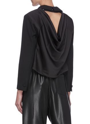 Back View - Click To Enlarge - SANS TITRE - Drape Open Back Crop Blazer
