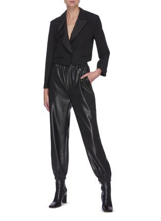 Figure View - Click To Enlarge - SANS TITRE - Drape Open Back Crop Blazer