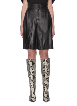 Main View - Click To Enlarge - SANS TITRE - Leather Bermuda Shorts