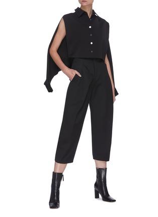 Figure View - Click To Enlarge - SANS TITRE - Bat Sleeve Crop Shirt