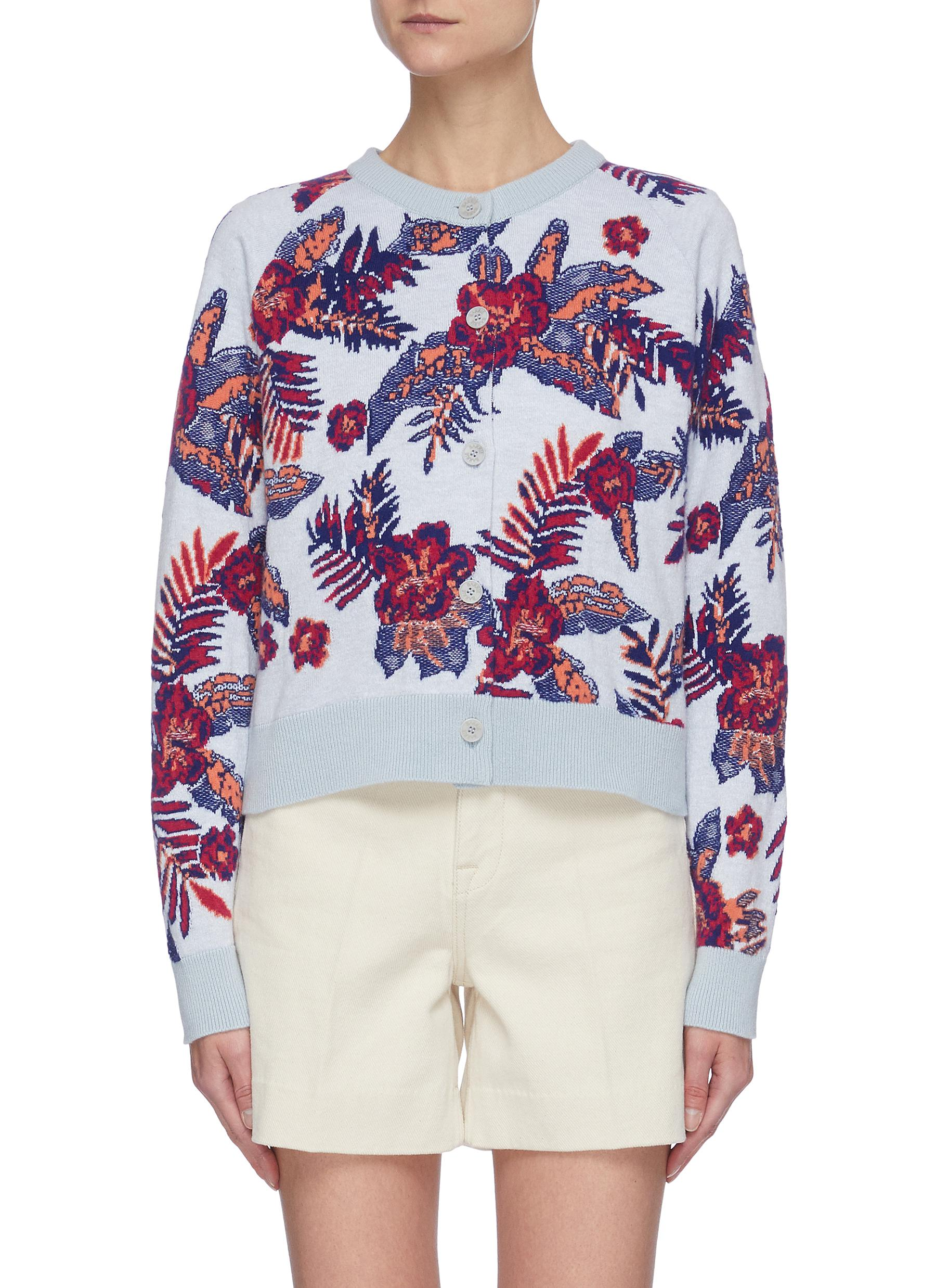 Barrie FLORAL INTARSIA CARDIGAN
