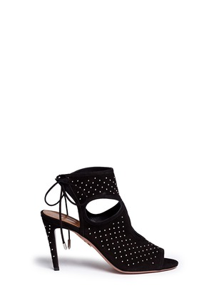 Main View - Click To Enlarge - Aquazzura - 'Sexy Thing' stud cutout suede sandals