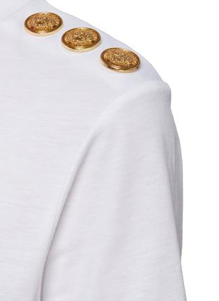 - BALMAIN - Logo Embossed Button Shoulder Logo Print T-shirt