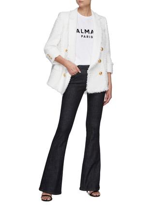 Figure View - Click To Enlarge - BALMAIN - Logo Embossed Button Shoulder Logo Print T-shirt