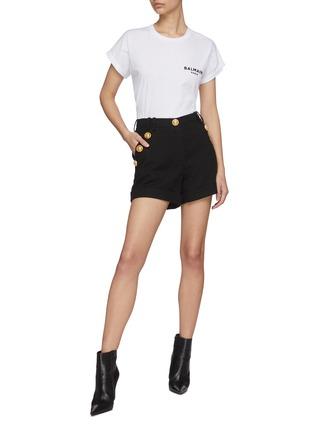 Figure View - Click To Enlarge - BALMAIN - Logo Print Cotton T-shirt