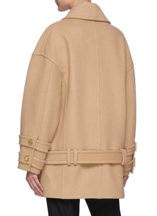 Back View - Click To Enlarge - BALMAIN - Double Breast Belt Peacoat
