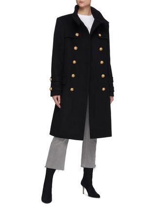 Figure View - Click To Enlarge - BALMAIN - Mock Neck Button Coat