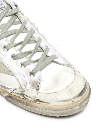 Detail View - Click To Enlarge - GOLDEN GOOSE - 'Super-star' Torn Overlay Distressed Leather Sneakers