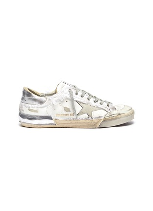 Main View - Click To Enlarge - GOLDEN GOOSE - 'Super-star' Torn Overlay Distressed Leather Sneakers