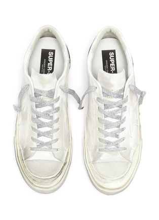 Detail View - Click To Enlarge - GOLDEN GOOSE - 'Superstar' glitter lace smudge detail suede sneakers