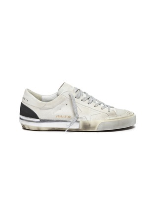 Main View - Click To Enlarge - GOLDEN GOOSE - 'Superstar' glitter lace smudge detail suede sneakers