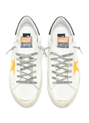 Detail View - Click To Enlarge - GOLDEN GOOSE - 'Super-star' Graffiti Slogan Print Distressed Leather Sneakers