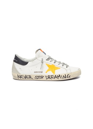Main View - Click To Enlarge - GOLDEN GOOSE - 'Super-star' Graffiti Slogan Print Distressed Leather Sneakers