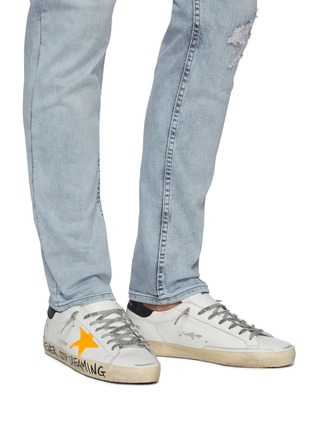 Figure View - Click To Enlarge - GOLDEN GOOSE - 'Super-star' Graffiti Slogan Print Distressed Leather Sneakers