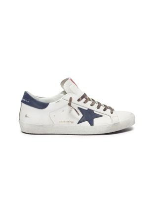 Main View - Click To Enlarge - GOLDEN GOOSE - 'Super-star' Star Motif Distressed Leather Sneakers