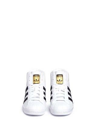 Front View - Click To Enlarge - Adidas - 'Superstar Up' leather high top sneakers
