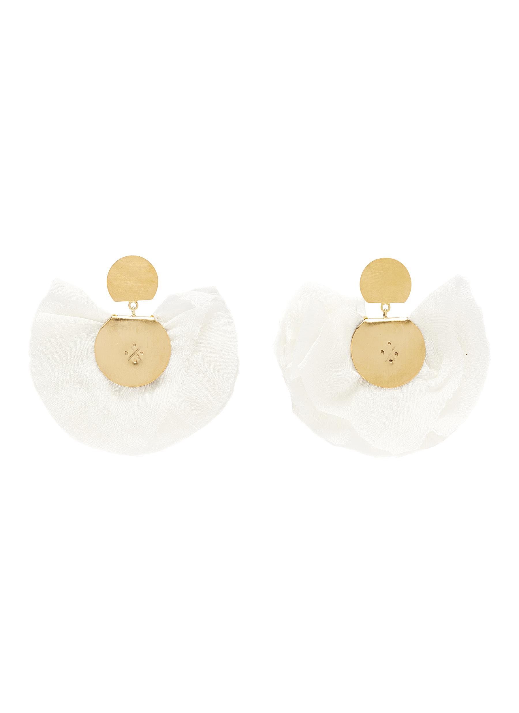 Silk fan 24k gold plated silver bronze vermeil earrings