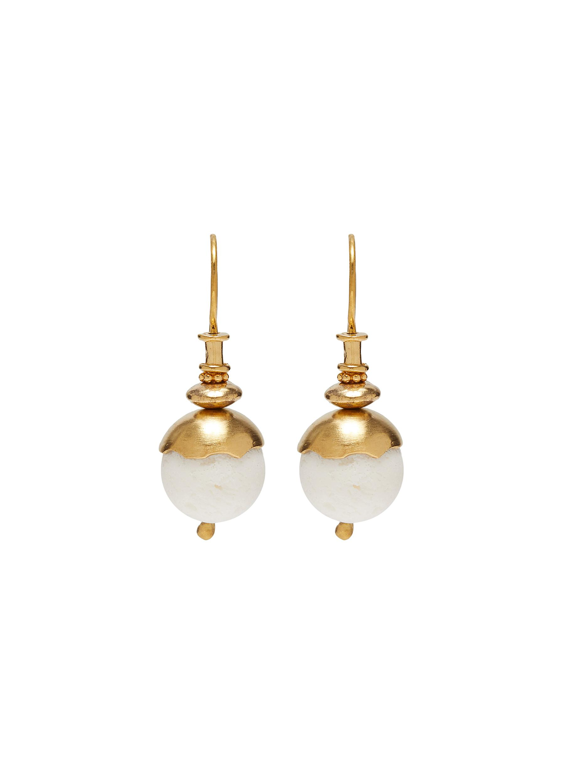 'White Mist' white coral 24k gold plated silver vermeil earrings