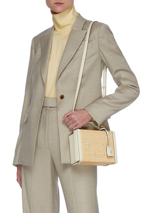 Figure View - Click To Enlarge - MARK CROSS - Grace' crystal embellished woven leather box bag