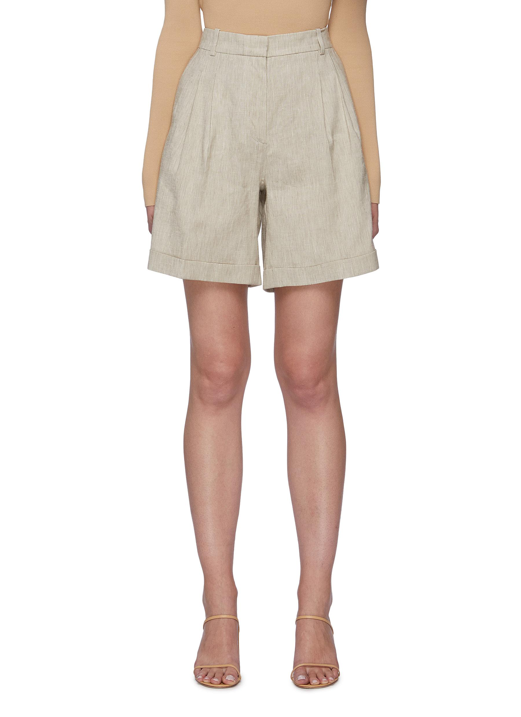 Pleated linen blend tailored shorts
