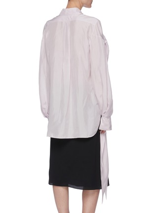 Back View - Click To Enlarge - NINA RICCI - Ruched Sleeve Ribbon Cuff Point Collar Shirt