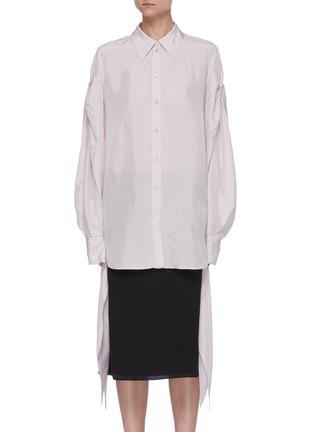 Main View - Click To Enlarge - NINA RICCI - Ruched Sleeve Ribbon Cuff Point Collar Shirt
