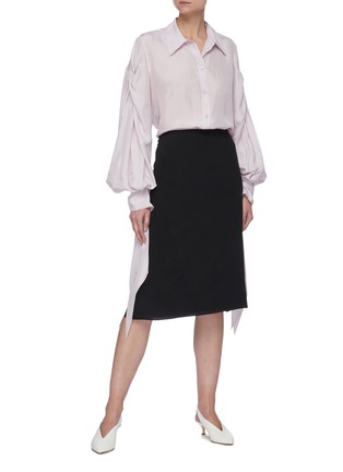 Figure View - Click To Enlarge - NINA RICCI - Ruched Sleeve Ribbon Cuff Point Collar Shirt