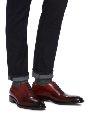 Figure View - Click To Enlarge - SANTONI - Gradient Leather Oxford Shoes